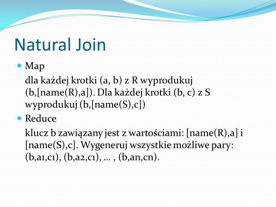 Natural Join Map. dla każdej krotki (a, b) z R wyprodukuj (b,[name(R),a]). Dla każdej krotki (b, c) z S wyprodukuj (b,[name(S),c])